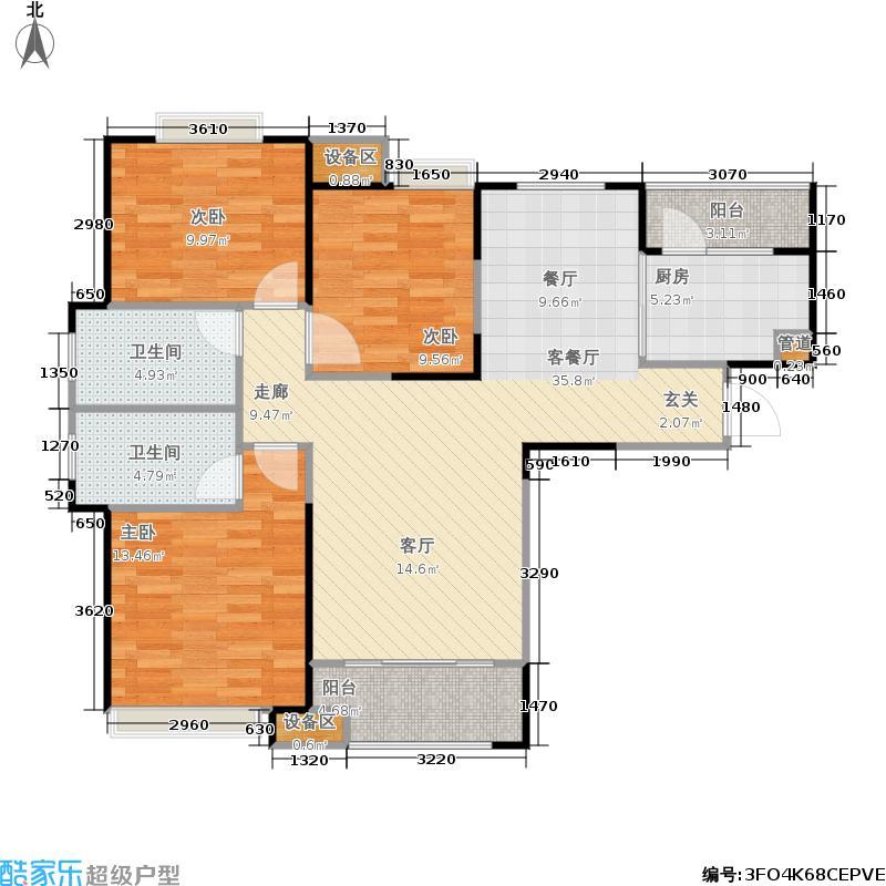中海银海一号C1户型3室1厅2卫1厨