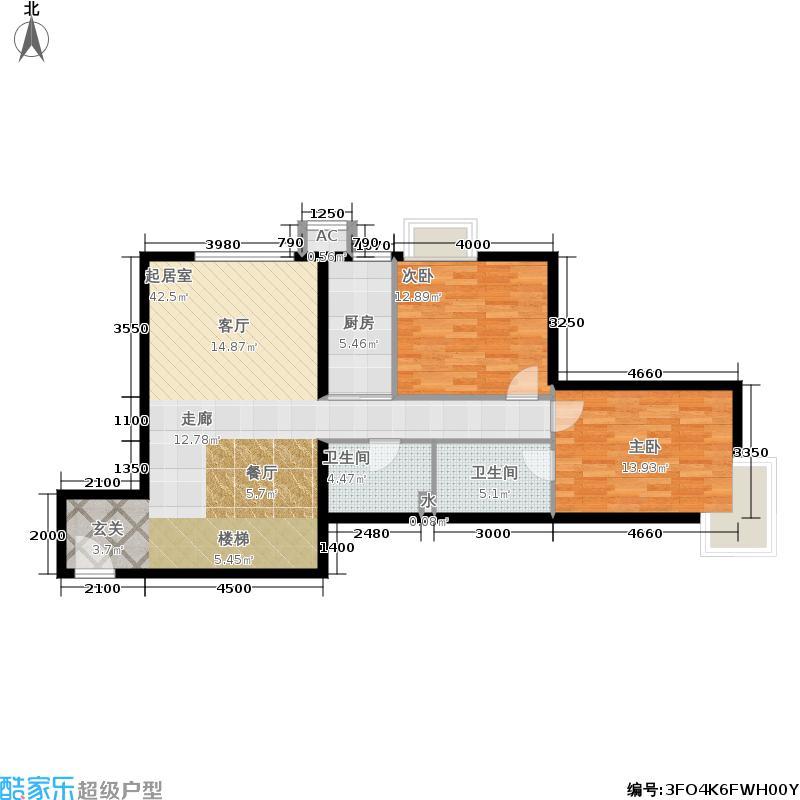 京禧阁115.32㎡A2b两室两厅两卫户型2室2厅2卫