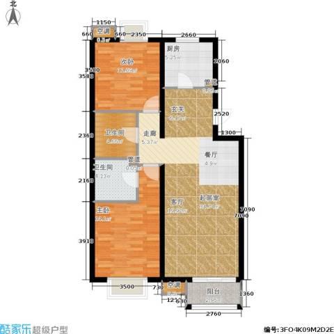 欧逸丽庭2室0厅2卫1厨99.00㎡户型图