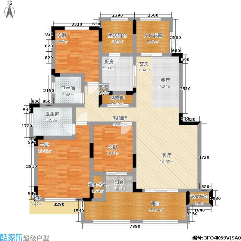 银翔翡翠谷110.00㎡D5户型三室两厅两卫套内约110㎡户型
