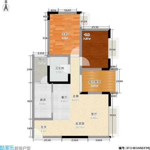 曼哈顿广场2室0厅1卫1厨62.00㎡户型图