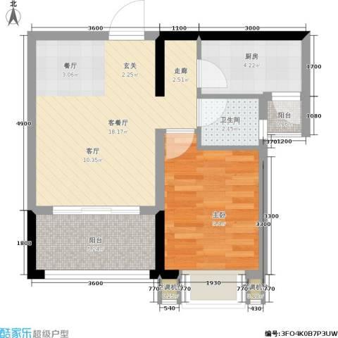 御景龙庭1室1厅1卫1厨40.49㎡户型图