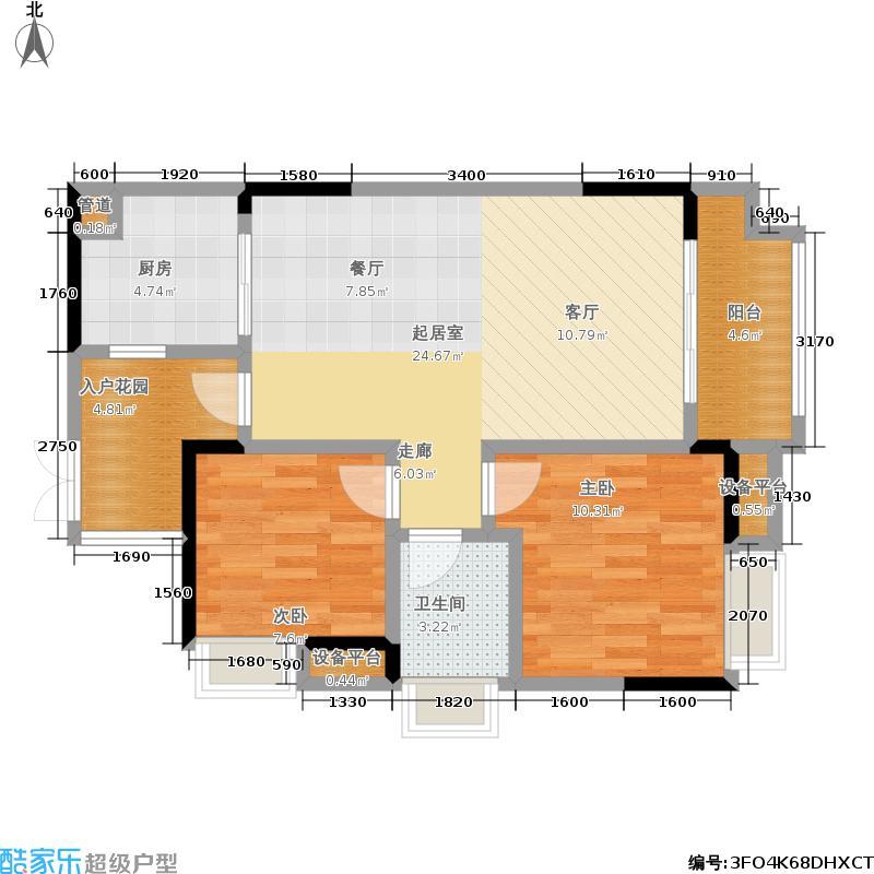 中豪公园尚城单卫+入户花园户型2室1卫1厨