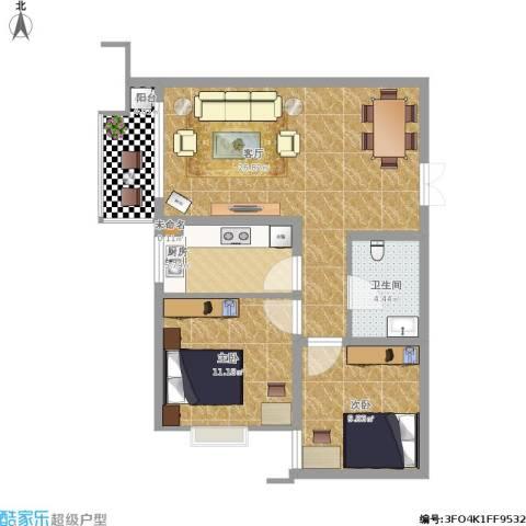 中铁・尚都城2室1厅1卫1厨89.00㎡户型图