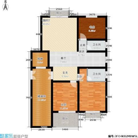 景香苑3室1厅2卫0厨111.12㎡户型图