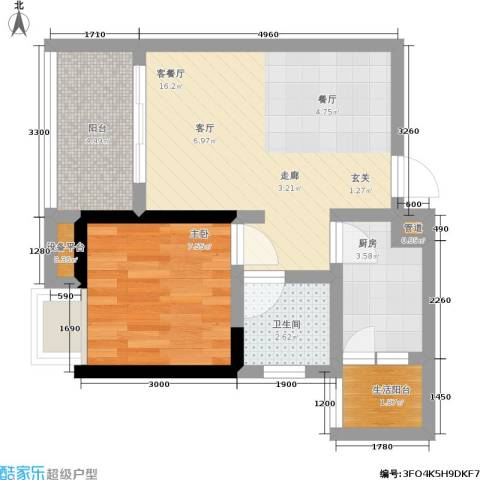 金辉融侨半岛香弥山2号1室1厅1卫1厨56.00㎡户型图