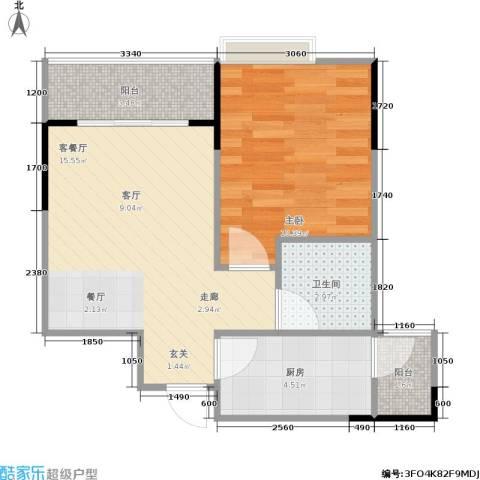 永缘城市交响1室1厅1卫1厨53.00㎡户型图