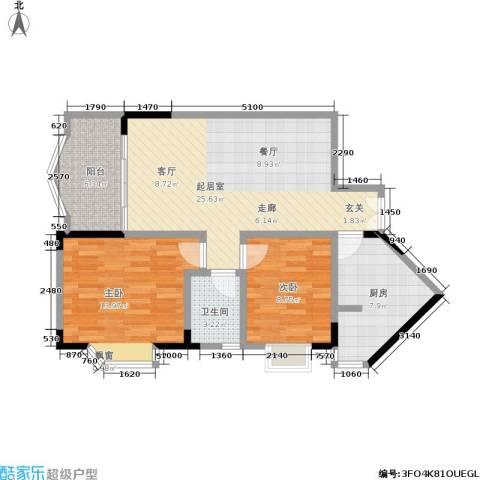 翰林景园2室0厅1卫1厨74.00㎡户型图