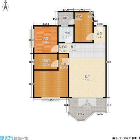云湖花园2室1厅2卫1厨73.09㎡户型图