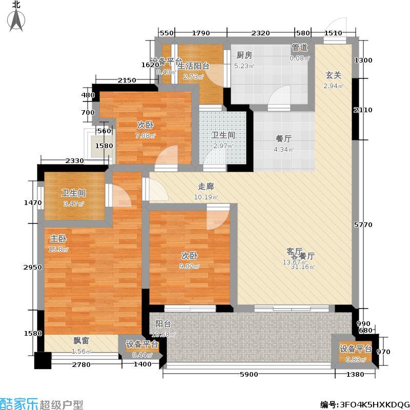 联发嘉园94.03㎡联发嘉园户型图三室两厅双卫94.03平米(5/6张)户型10室