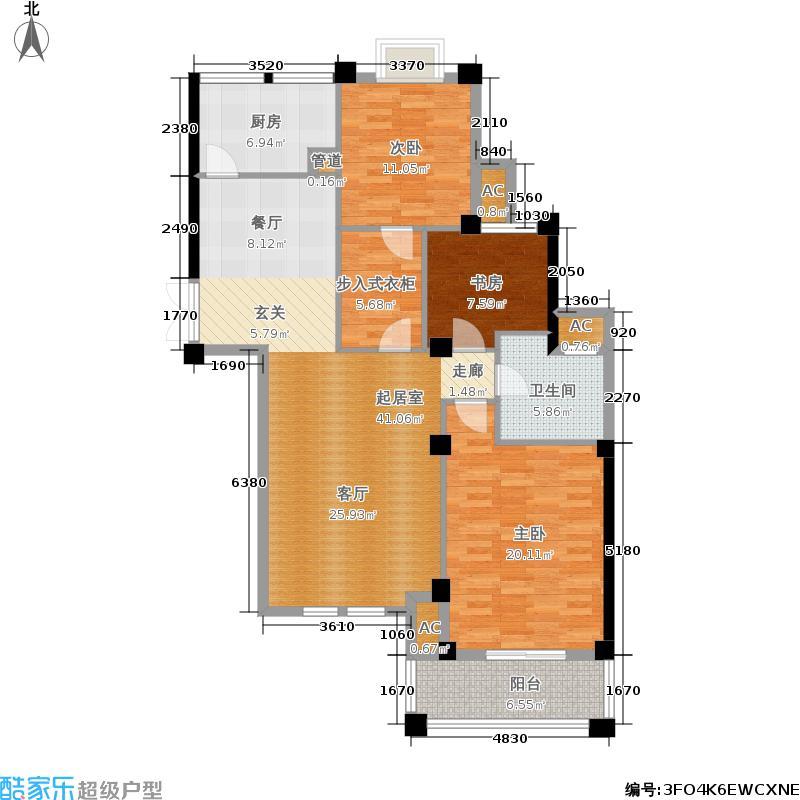 骆城芳洲114.00㎡2#楼标准层C03户型3室2厅1卫