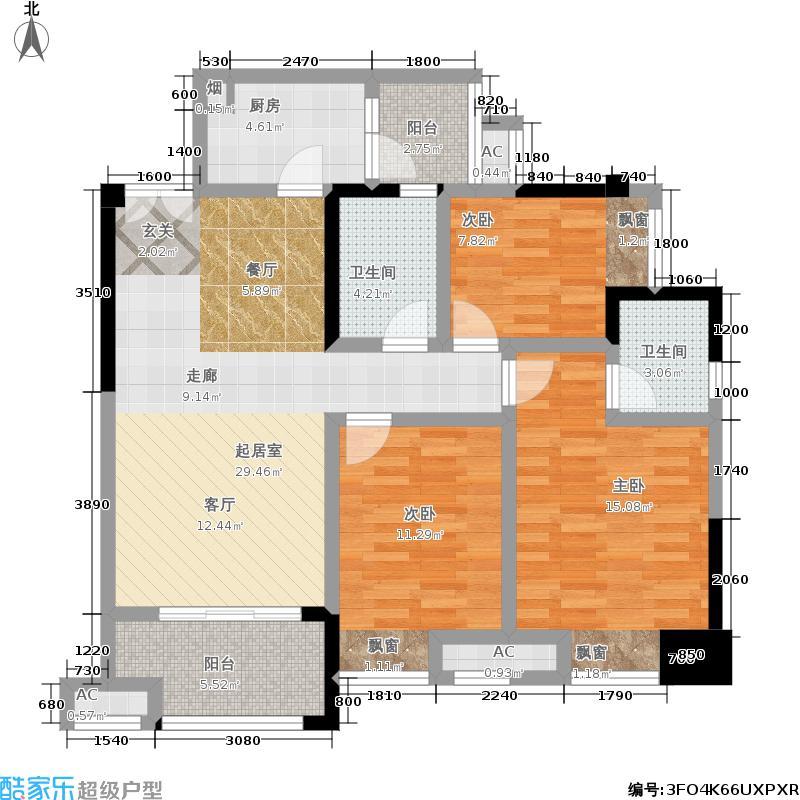 财信沙滨城市100.30㎡A11号E户型-三室两厅两卫+双阳台-套内89.22平米-赠送面积5.10平米户型3室2厅2卫