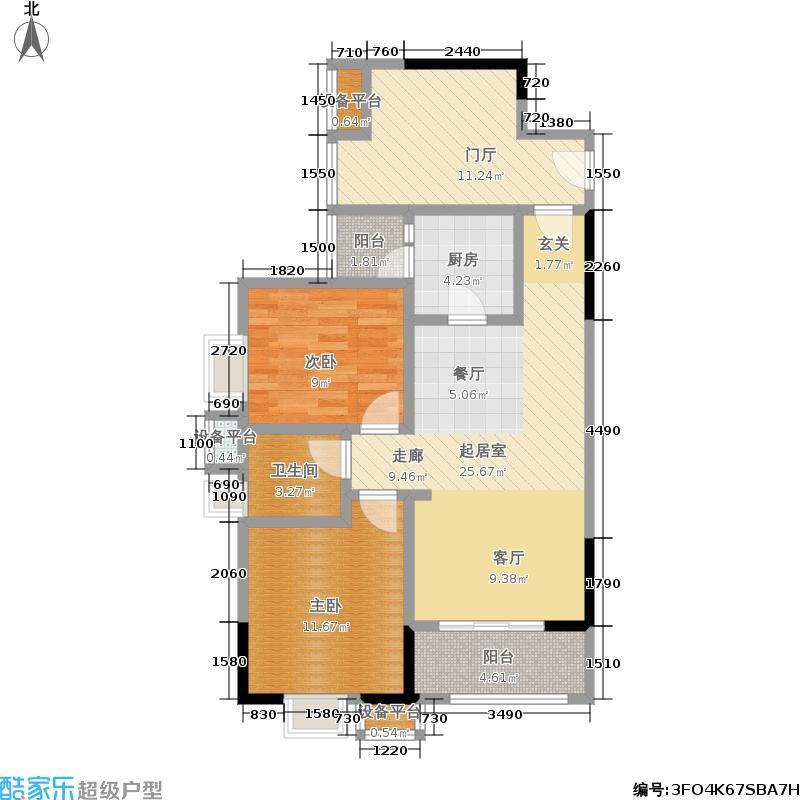 巴比亚半山69.61㎡6号楼3/5号房 两室两厅一卫三阳台 套内69.61㎡㎡户型2室2厅1卫