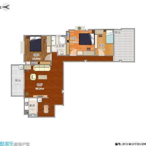 福湾新城秋月苑3室1厅1卫1厨121.00㎡户型图