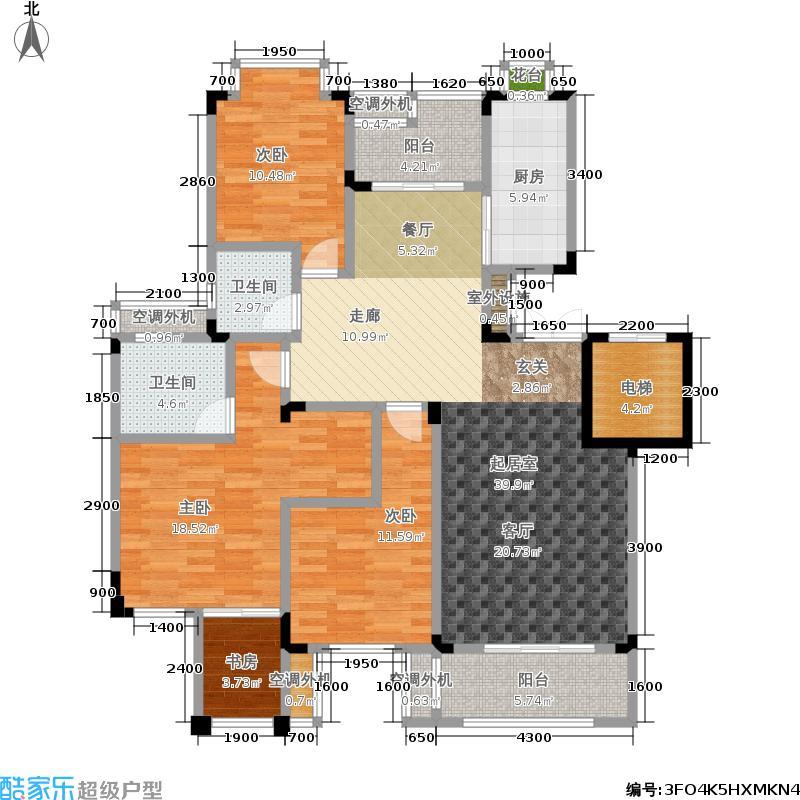 和泓四季111.00㎡一期洋房第19栋标准层B型5F户型3室2厅2卫1厨 111.00㎡户型3室2厅2卫