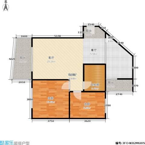 云湖花园2室1厅1卫1厨76.89㎡户型图