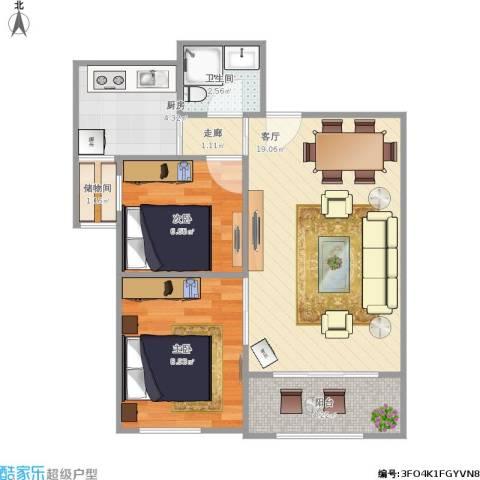 青铁阳光小区2室1厅1卫1厨66.00㎡户型图