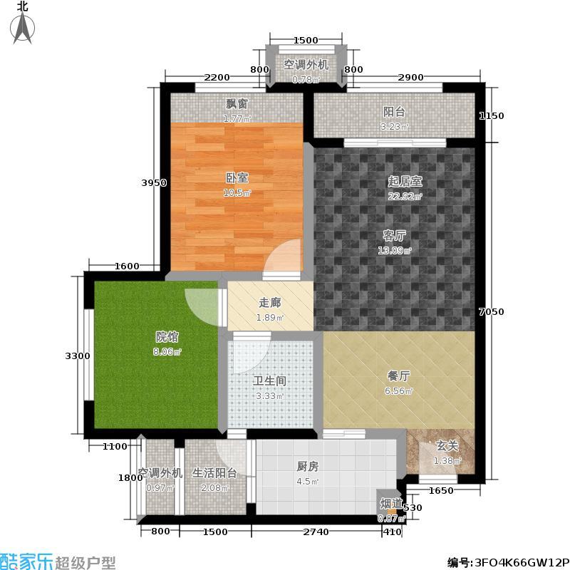 协信城立方协信城立方户型图4、22幢3、6号房一室两厅+院馆套内面积约53㎡实得63㎡(7/10张)户型1室2厅1卫