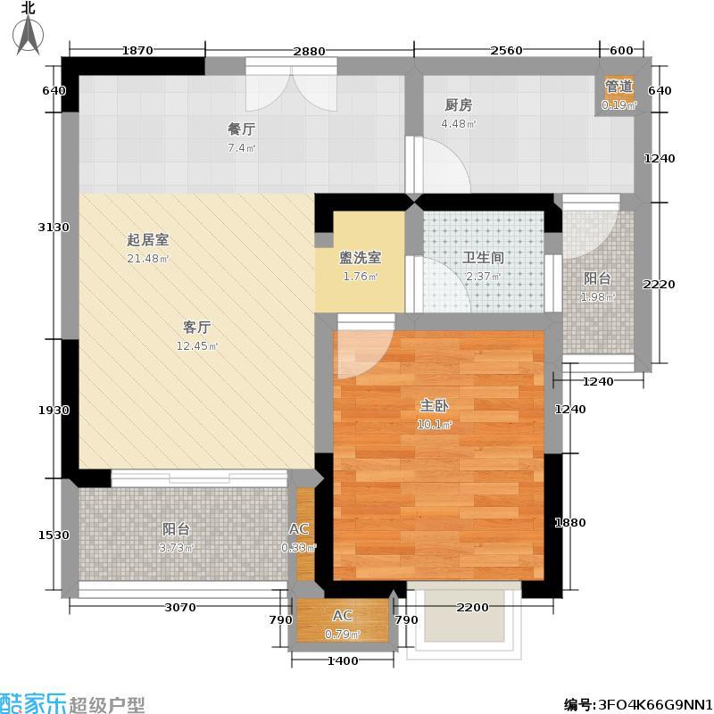 中渝春华秋实48.62㎡1/8户型 一室两厅一厨一卫 套内面积48.62平米户型1室2厅1卫