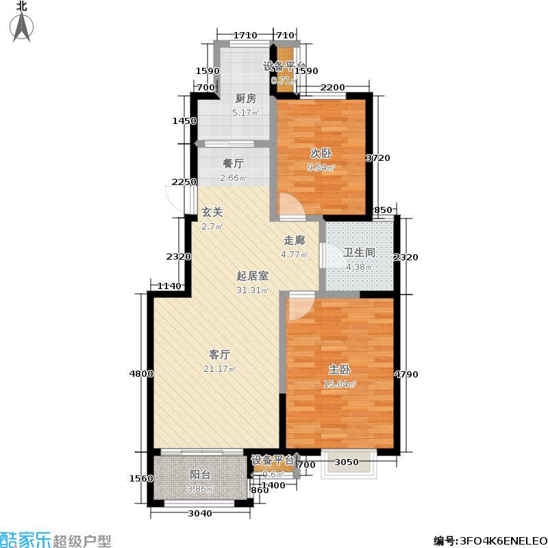 天津华侨城90.00㎡洋房C户型标准层两室两厅一卫户型2室2厅1卫