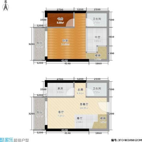 御景龙庭1室1厅2卫1厨55.31㎡户型图