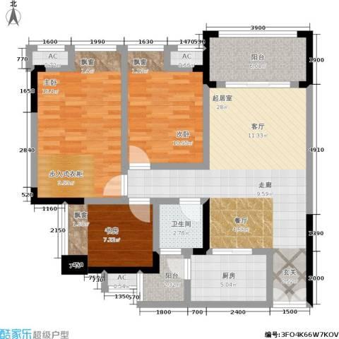 财信沙滨城市3室0厅1卫1厨93.00㎡户型图