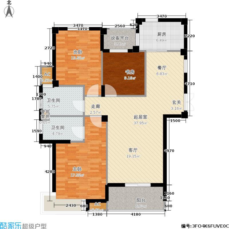 世茂海春晓119.47㎡公寓H户型3室2厅2卫