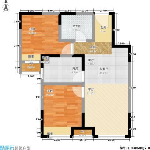 华润橡树湾2室1厅1卫1厨75.00㎡户型图
