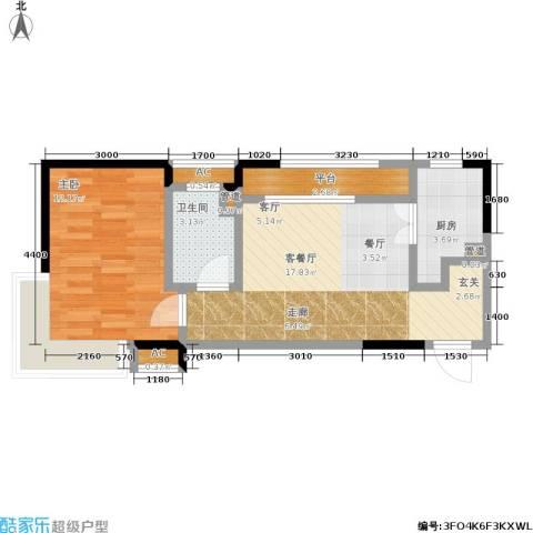 华润橡树湾1室1厅1卫1厨60.00㎡户型图