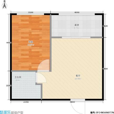 金海华府1室1厅1卫1厨48.00㎡户型图