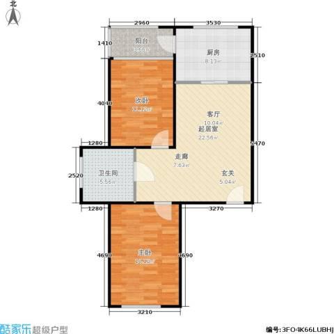 金海华府2室0厅1卫1厨70.00㎡户型图