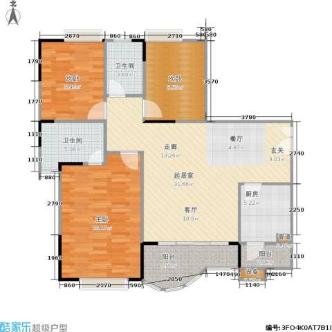 枫丹树语城3室0厅2卫1厨123.00㎡户型图