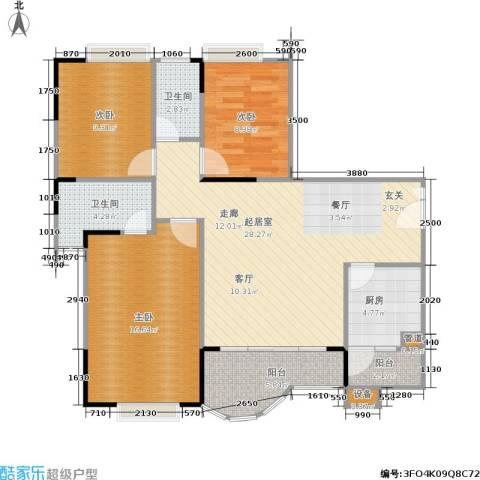 枫丹树语城3室0厅2卫1厨113.00㎡户型图