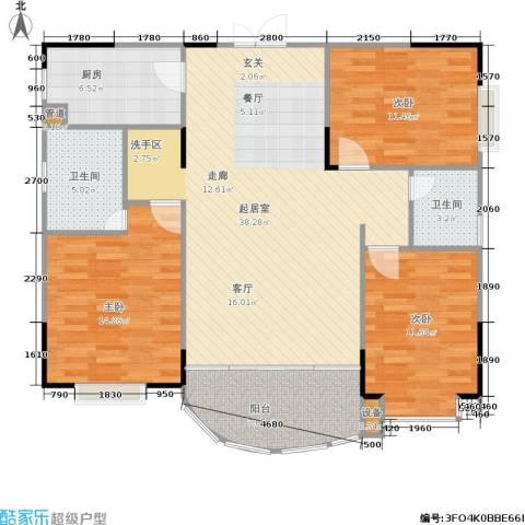 枫丹树语城3室0厅2卫1厨132.00㎡户型图