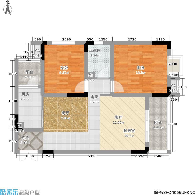 兴现金鼎龙泉84.00㎡小高层:两室两厅一卫一厨户型2室2厅1卫