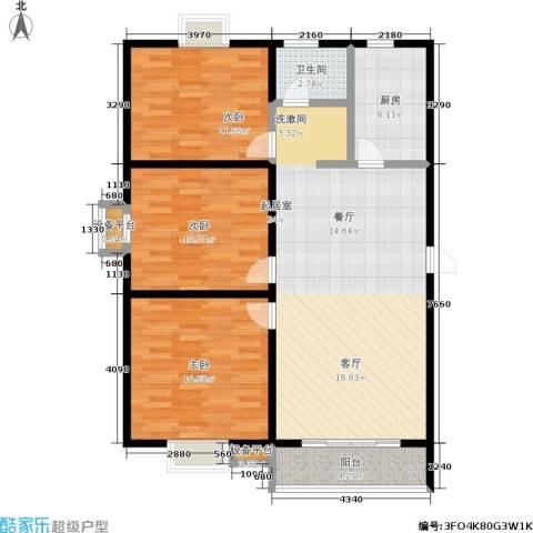 经典雅居二期3室0厅1卫1厨97.00㎡户型图