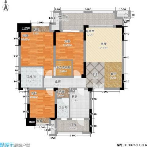 财信沙滨城市3室0厅2卫1厨112.00㎡户型图