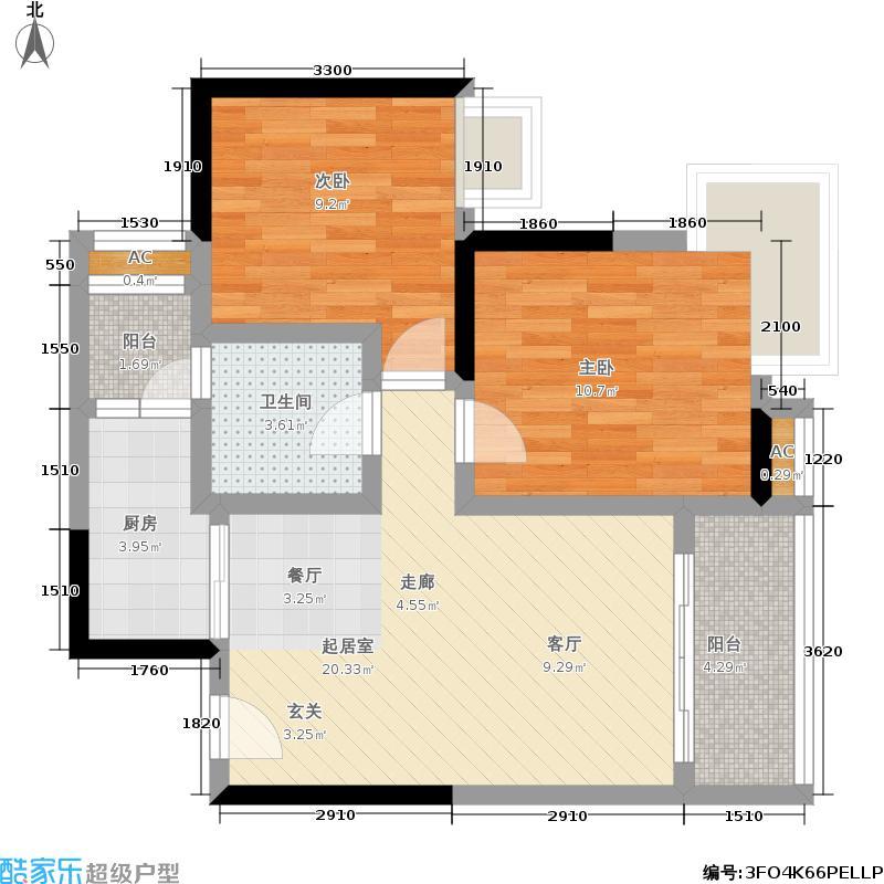 中房千寻80.00㎡中房千寻户型图C4户型,两室两厅双卫双阳台带院馆(两房可变三房),C4、C2套内面积约72.32平米/72.21平米(6/31张)户型2室2厅2卫