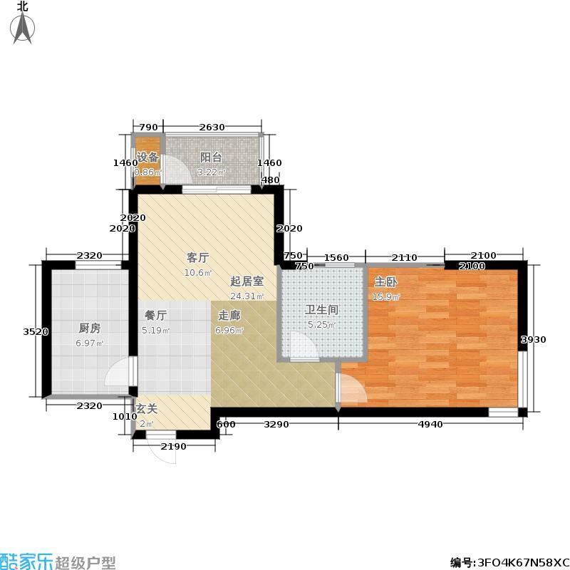 七星花园1室2厅1卫户型