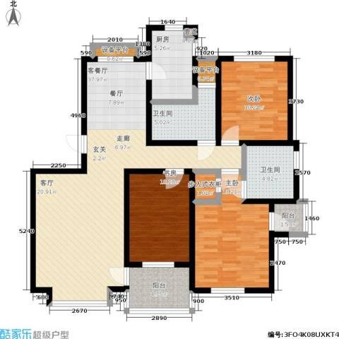 城市枫景3室1厅2卫1厨115.00㎡户型图