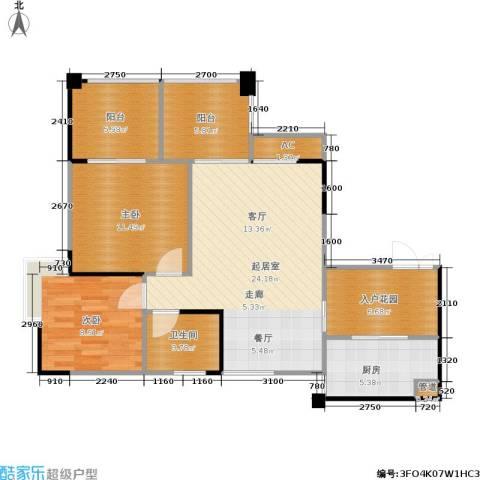 南方新城苹果派2室0厅1卫1厨80.09㎡户型图
