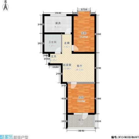 山水绿城2室0厅1卫1厨81.00㎡户型图