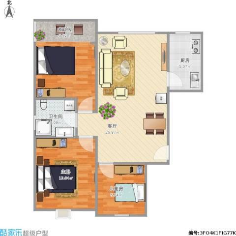 龙景尚都3室1厅1卫1厨119.00㎡户型图