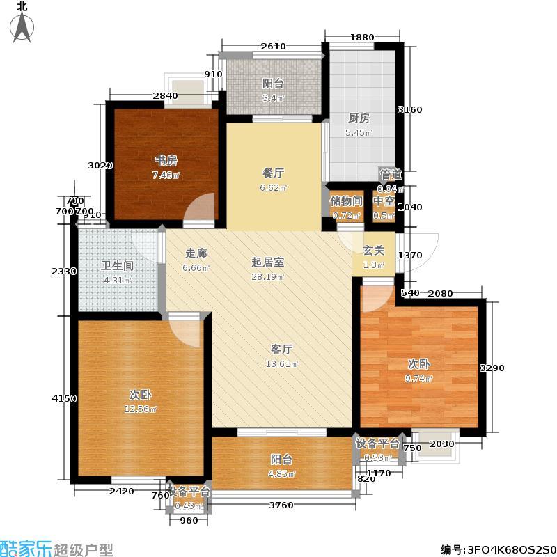 新创理想城新创理想城户型图二房二厅一卫90.15m2(22/27张)户型10室
