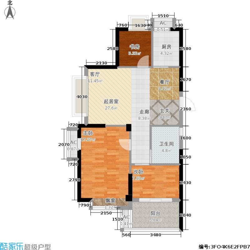 金色珑庭A户型 约81.94-85.18户型3室2厅1卫