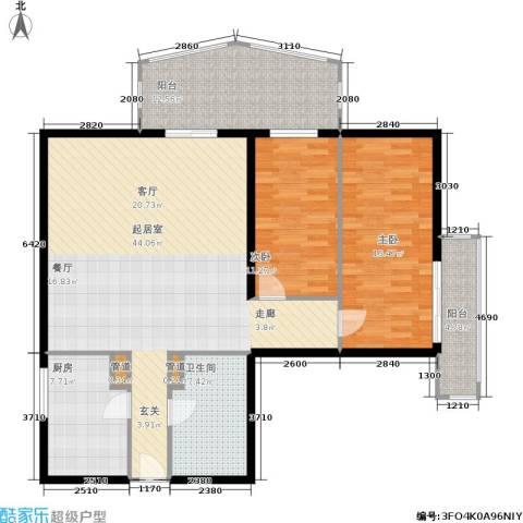 景泰嘉园2室0厅1卫1厨116.00㎡户型图