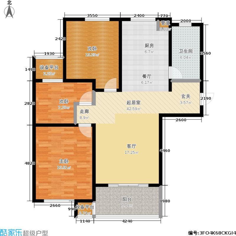 新创理想城B2户型3室1卫