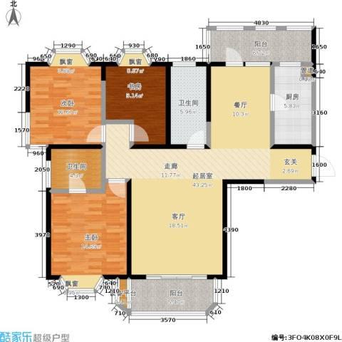 保利雅苑3室0厅2卫1厨123.00㎡户型图