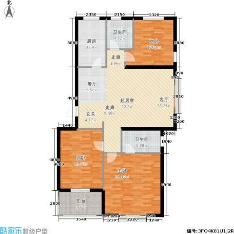 鑫苑城市之家3室0厅2卫1厨113.99㎡户型图