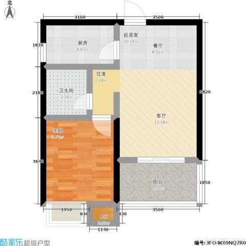 森岭居1室0厅1卫1厨43.61㎡户型图